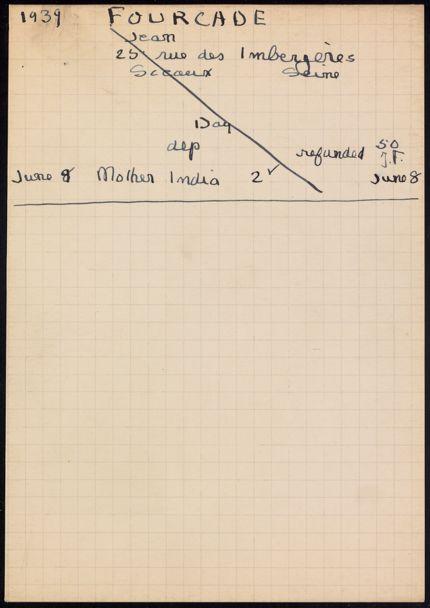 Jean Fourcade 1939 card