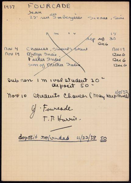 Jean Fourcade 1937 – 1938 card
