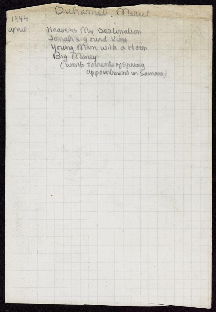 Marcel Duhamel 1944 card (large view)