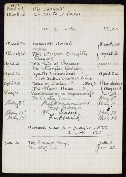 Mr. Sargent 1923 card