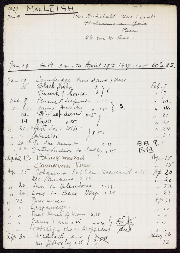 Ada MacLeish 1927 card (large view)