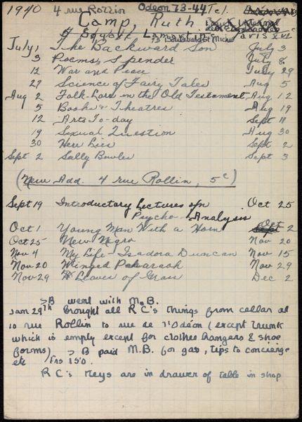 Ruth Camp 1940 card