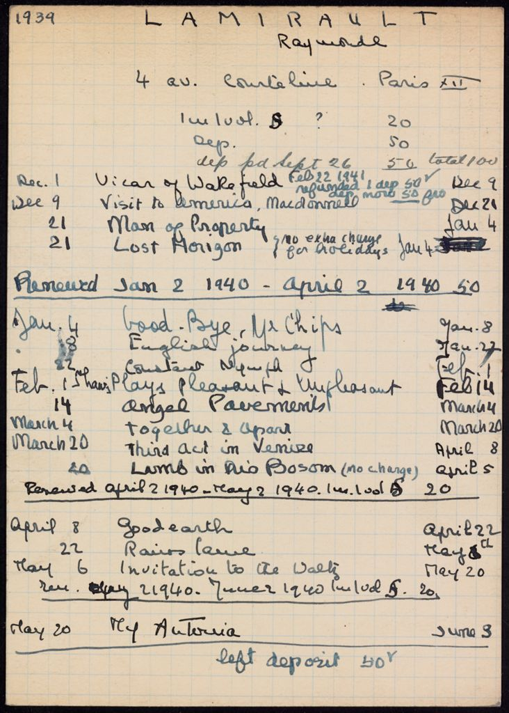 Raymonde Lamirault 1939 – 1940 card (large view)