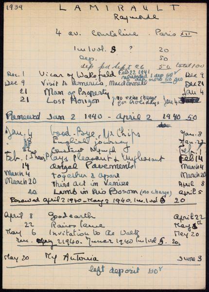 Raymonde Lamirault 1939 – 1940 card