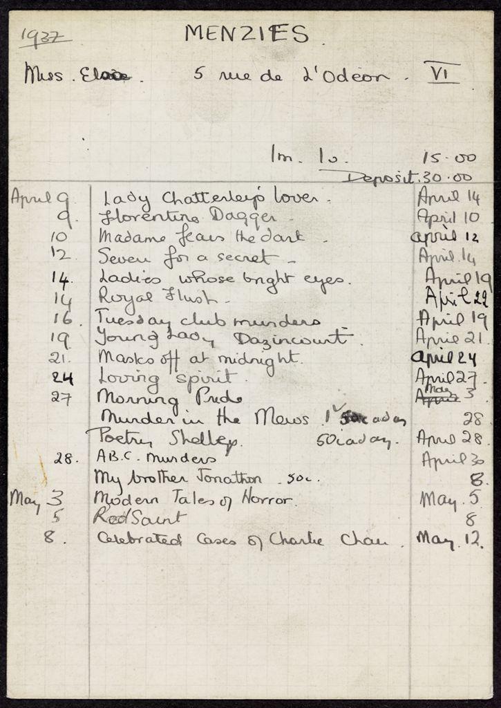 Elsa Menzies 1937 card (large view)