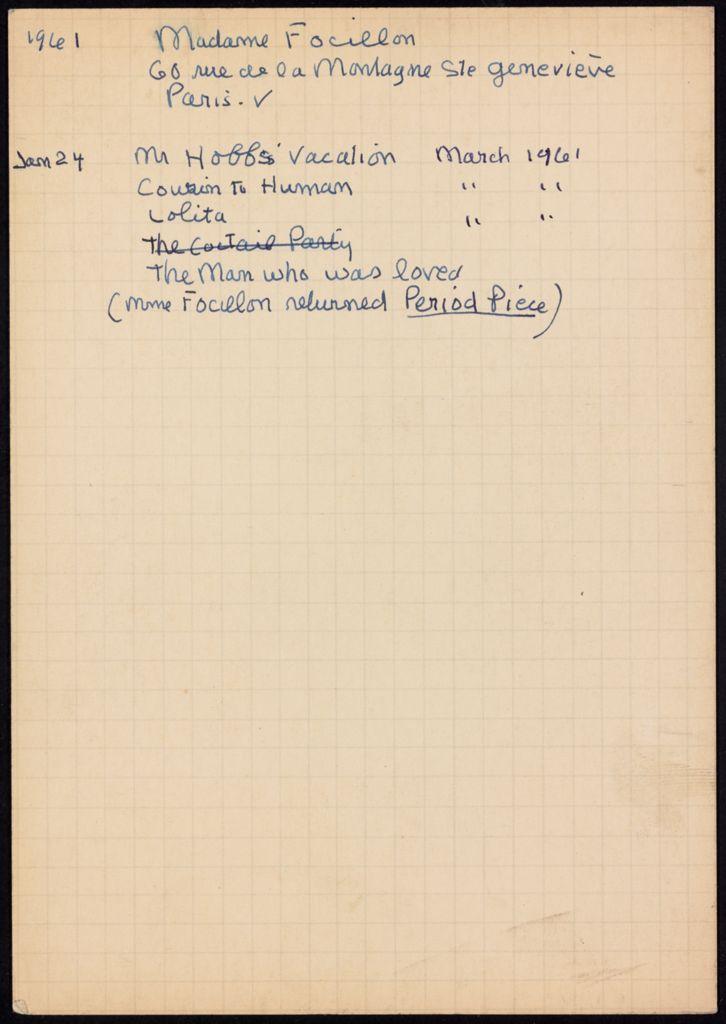 Marguerite Focillon 1961 card (large view)