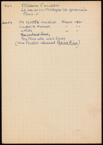 Marguerite Focillon 1961 card