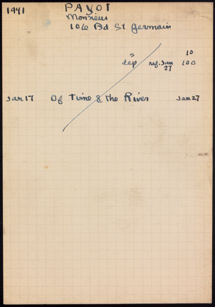 M. Payot 1941 card