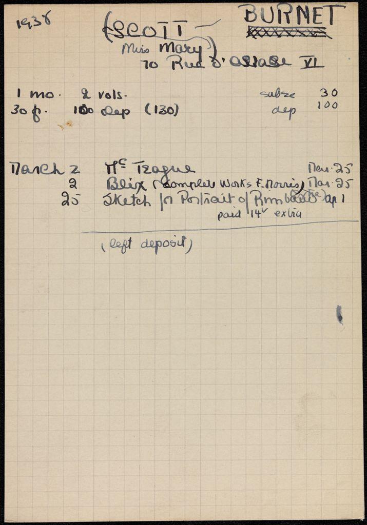 Mary Scott Burnet 1938 card (large view)