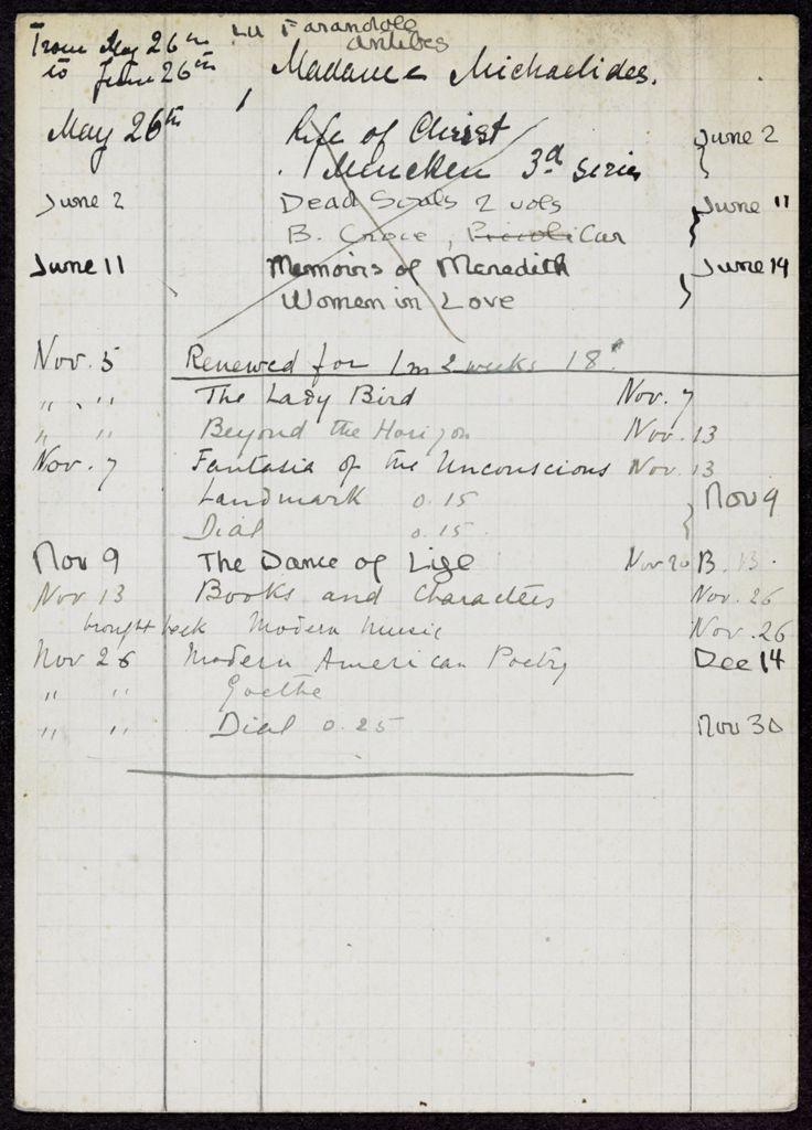 Mme L. Michaelides 1923 card (large view)