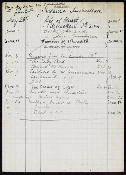Mme L. Michaelides 1923 card