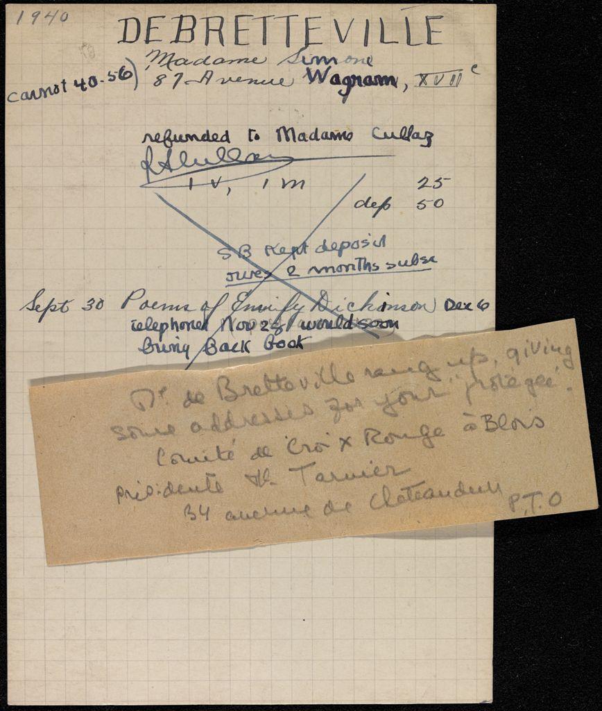 Simone de Bretteville 1940 card (large view)