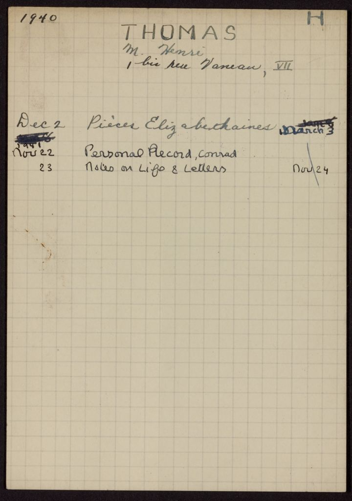 Henri Thomas 1940 – 1941 card (large view)