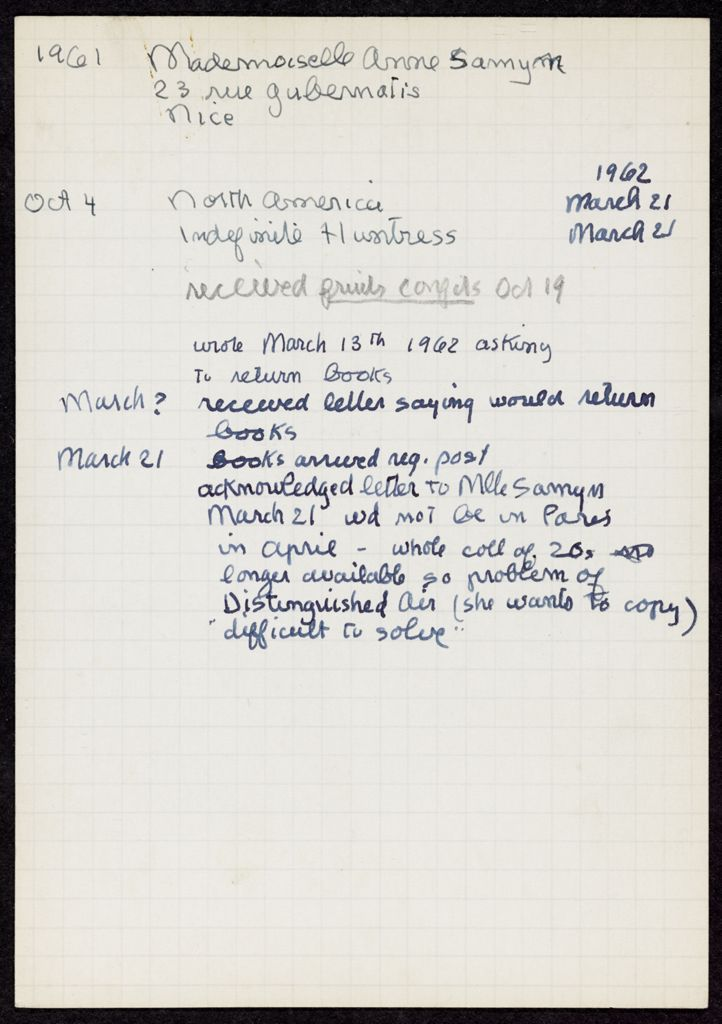 Ann Samyn 1961 – 1962 card (large view)