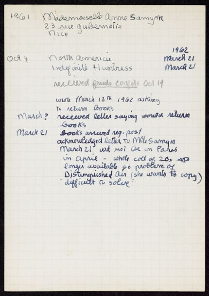 Ann Samyn 1961 – 1962 card