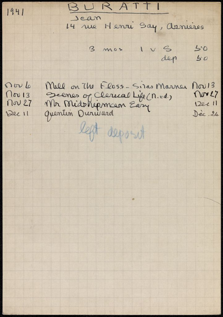 Jean Buratti 1941 – 1942 card (large view)