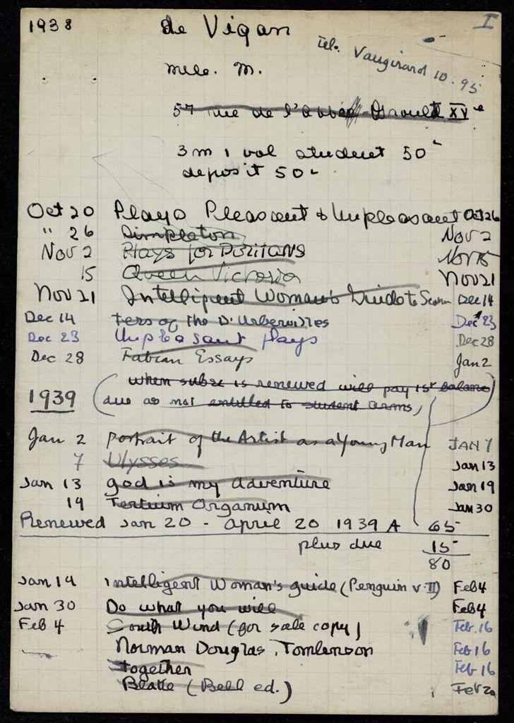 Monique de Vigan 1938 – 1939 card (large view)