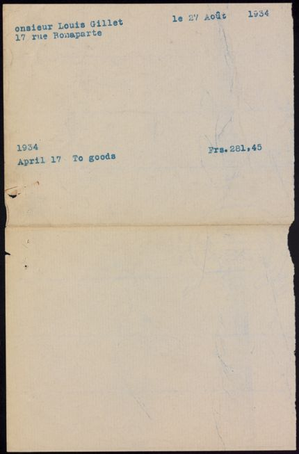 Louis Gillet Blank card