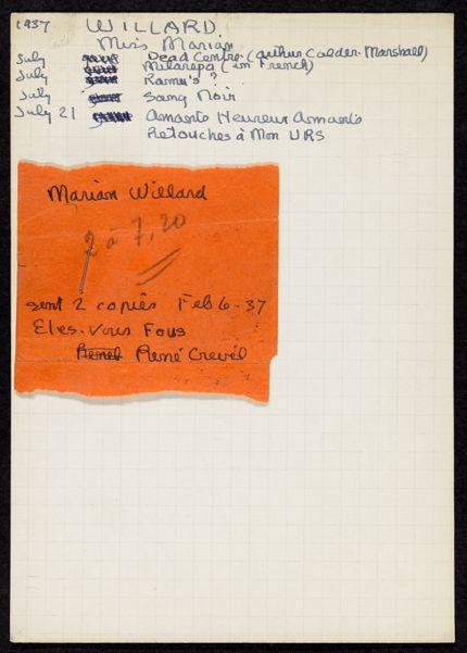Marian Willard 1937 card