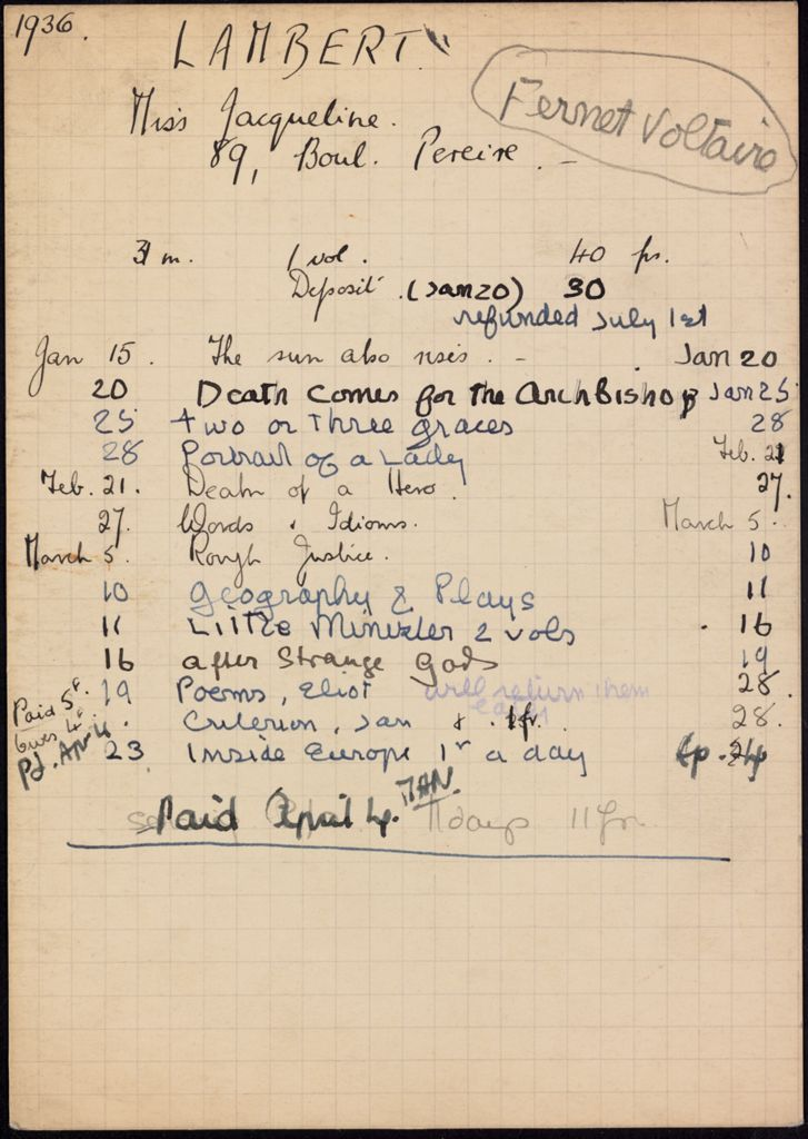 Jacqueline Lambert 1936 card (large view)