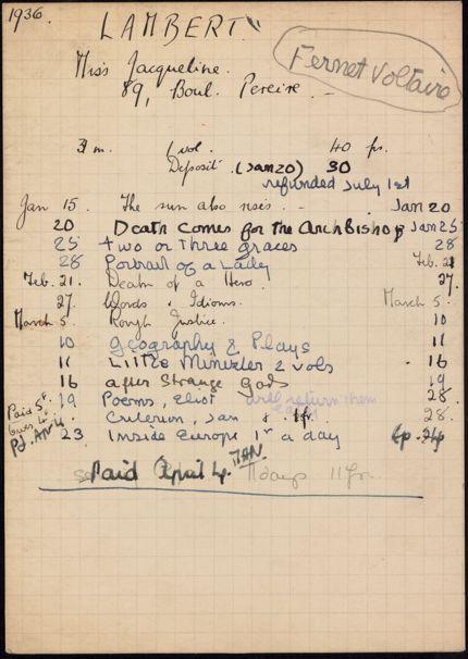 Jacqueline Lambert 1936 card