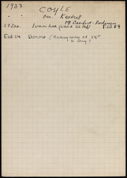 Kathleen Coyle 1933 card