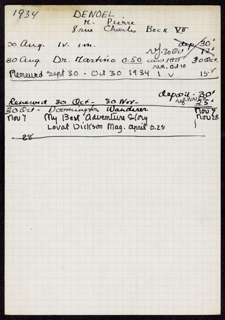 Pierre Denoel 1934 card (large view)