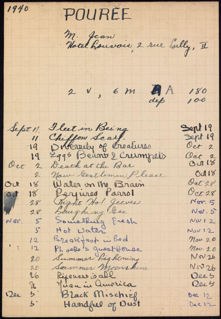 Jean Pourée 1940 – 1941 card (large view)