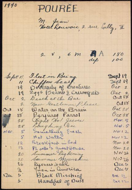 Jean Pourée 1940 – 1941 card