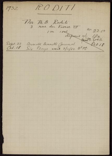 Marcel D. Roditi 1932 card