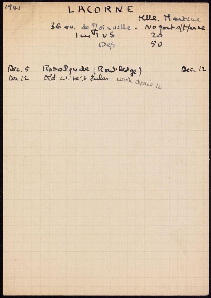 Martine Lacorne 1941 – 1942 card (large view)