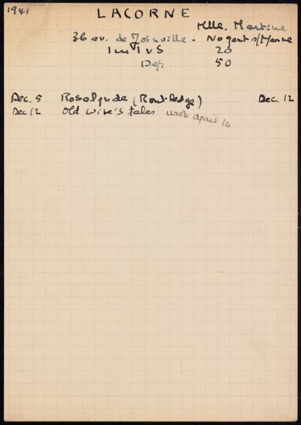 Martine Lacorne 1941 – 1942 card