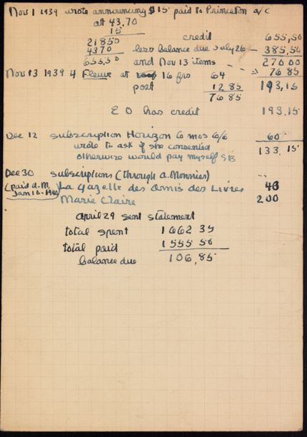 Eleanor Oldenburger 1939 card