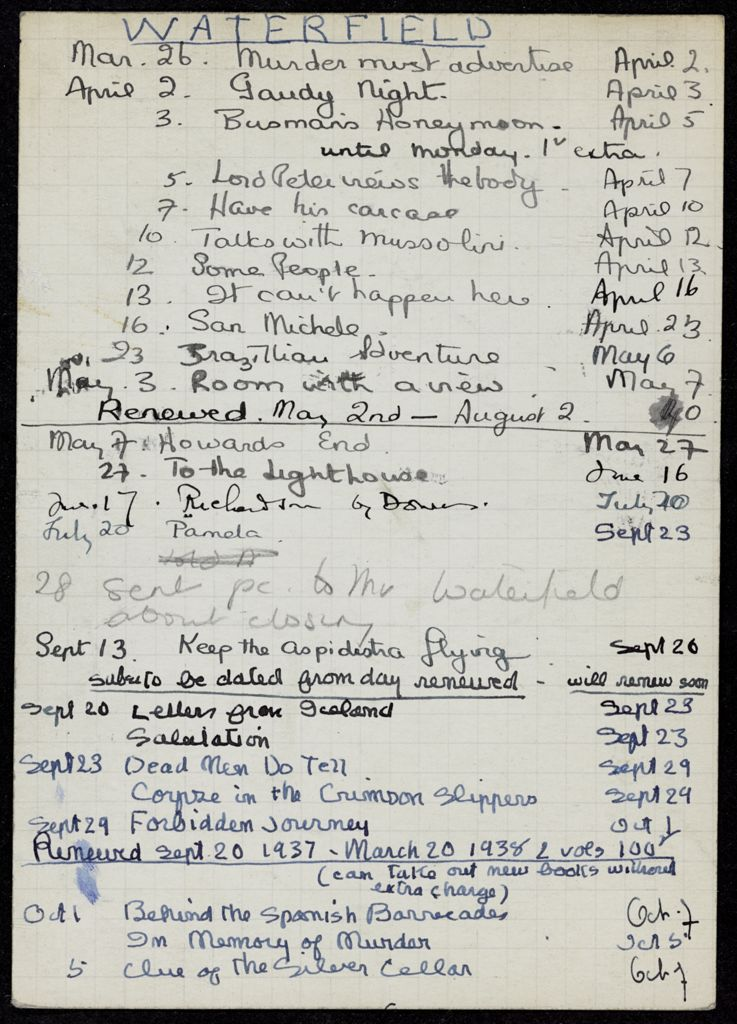 Gordon Waterfield 1937 – 1938 card (large view)