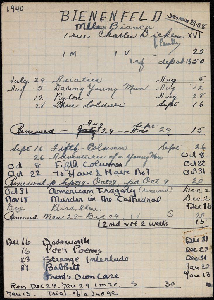 Bianca Lamblin 1940 – 1941 card (large view)