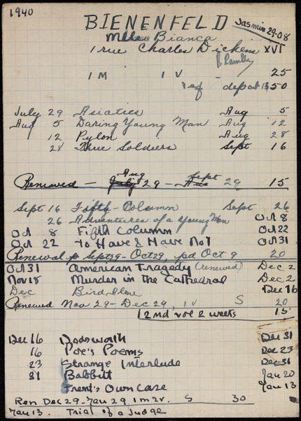 Bianca Lamblin 1940 – 1941 card