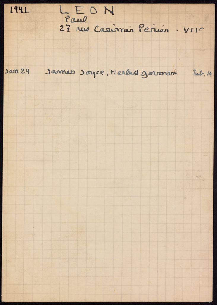 Paul Léon 1941 card (large view)