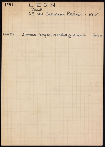 Paul Léon 1941 card
