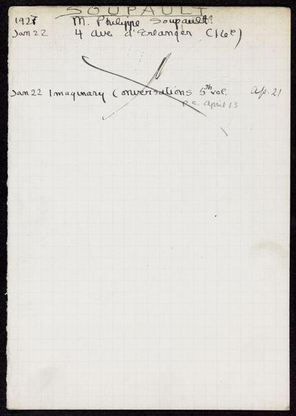 Philippe Soupault 1927 card