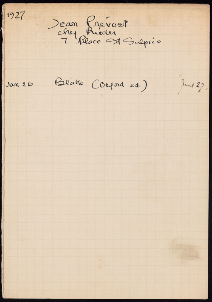 Jean Prévost 1927 card (large view)