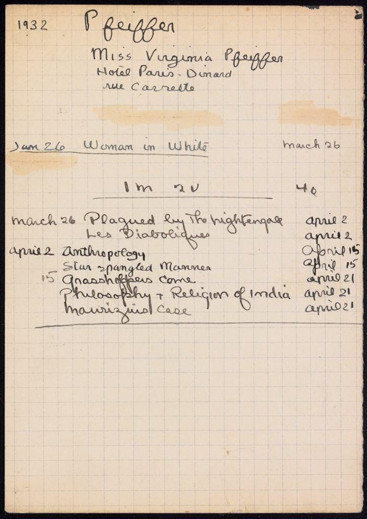 Virginia Pfeiffer 1932 card (large view)