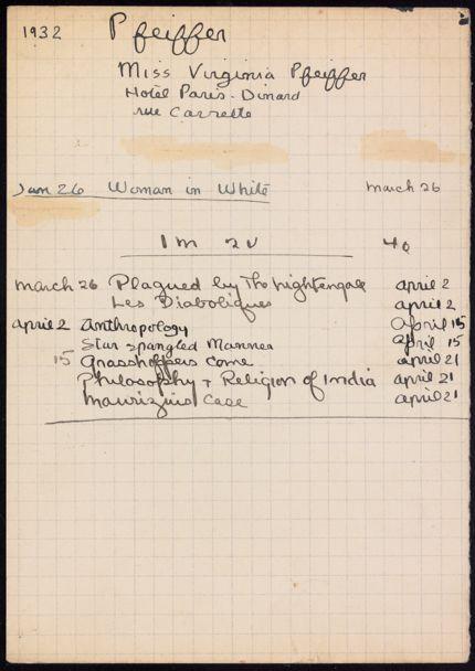 Virginia Pfeiffer 1932 card