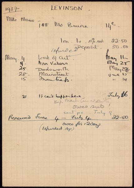 Marie Levinson 1937 card
