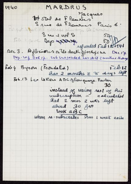 Jacques Mardrus 1940 – 1941 card