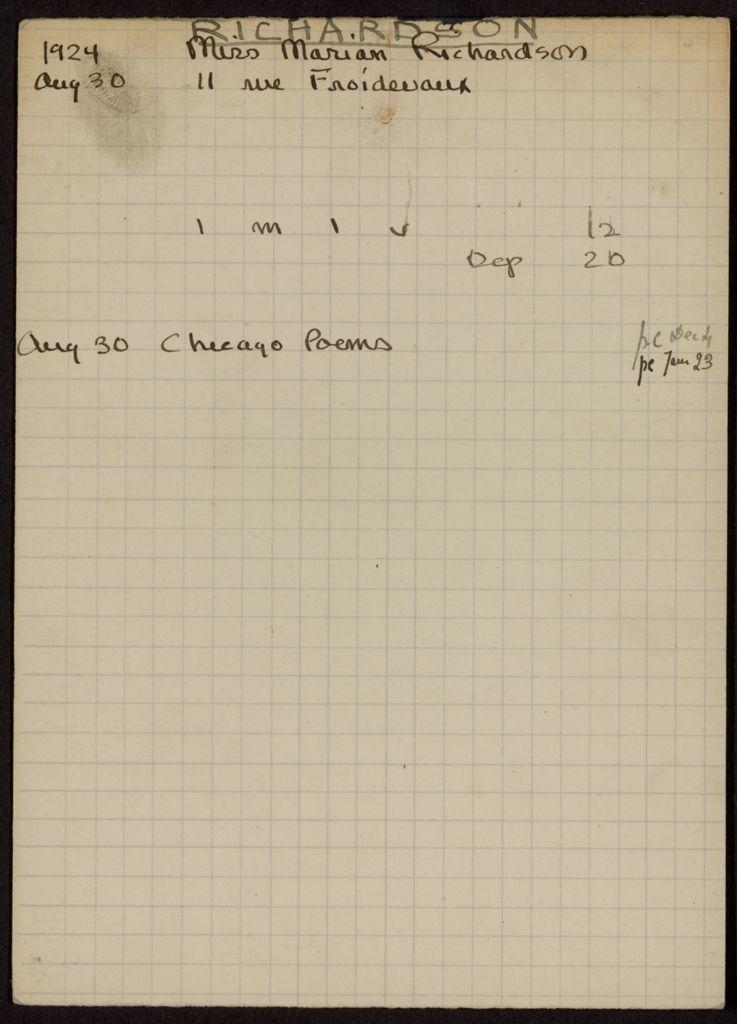 Marian Richardson 1924 card (large view)