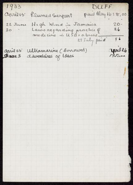 Donald Duff 1933 card