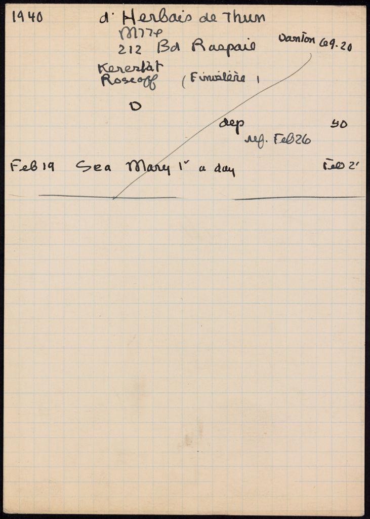 Marie-Valerie d'Herbais de Thun 1940 card (large view)