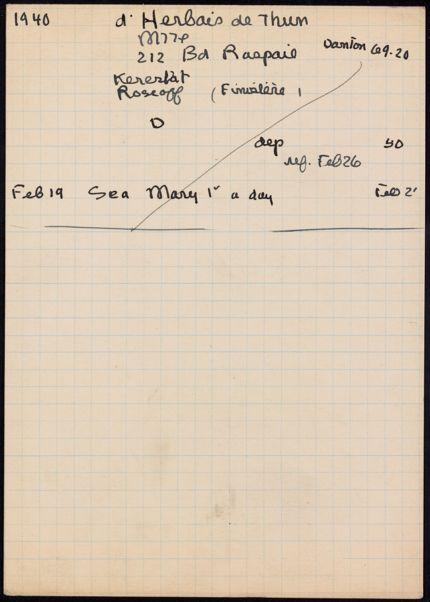 Marie-Valerie d'Herbais de Thun 1940 card