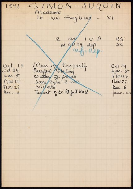 Mme Simon-Juquin 1941 – 1942 card