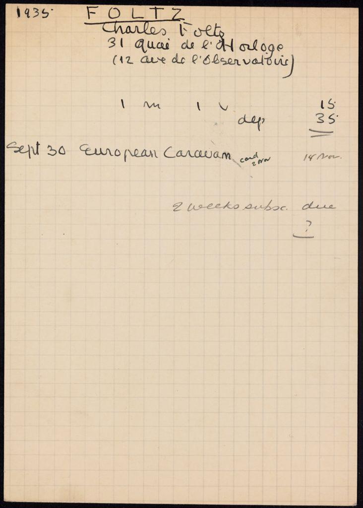 Charles-Robert Foltz 1935 card (large view)